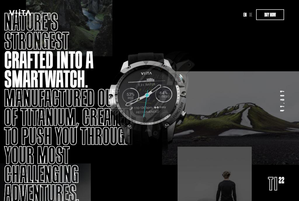 screenshot of Viita Watches website