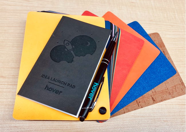 Our notebook and pen on the array of Rightsleeve cover options