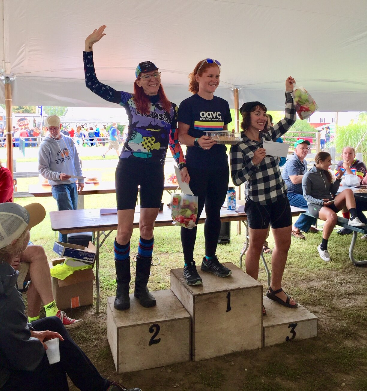 The SHORT COURSE Women's Podium: (from left to right) Tory Cane, Kari Alsager & Emily Mileski