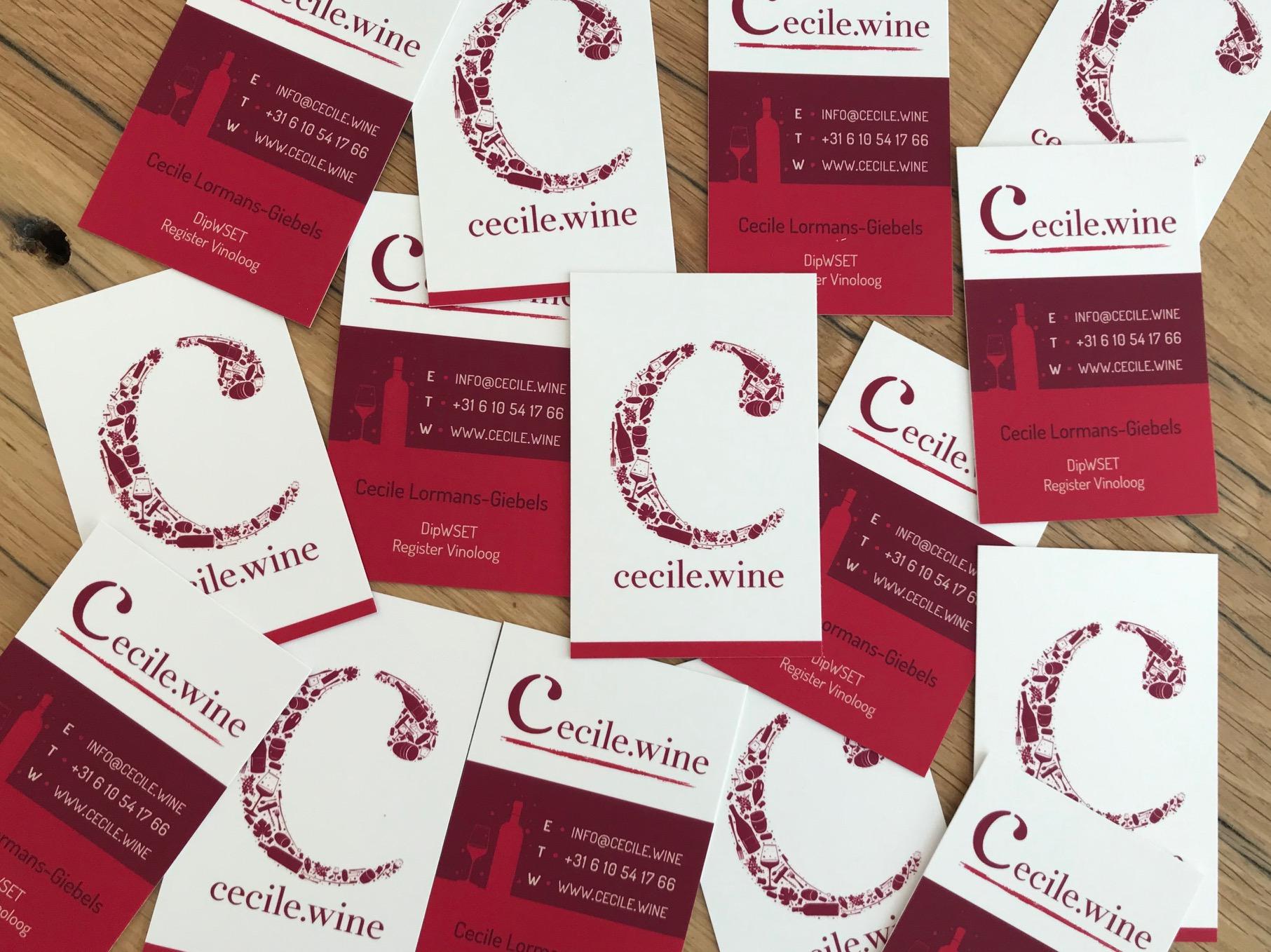 De visitekaartjes van Cecile.wine zijn klaar!