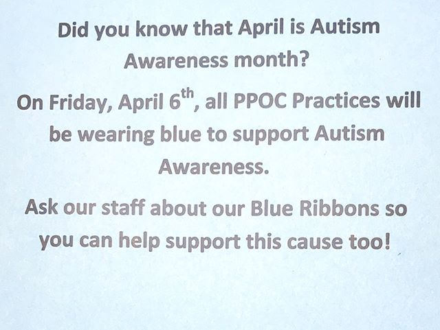 Was anyone at our office today and notice a common theme? RPA's staff was dressed in different shades of blue for #autismawarenessday and giving out ribbons to all our patients to show our support! 💙 #autism #autismawareness #autismspeaks 💙
