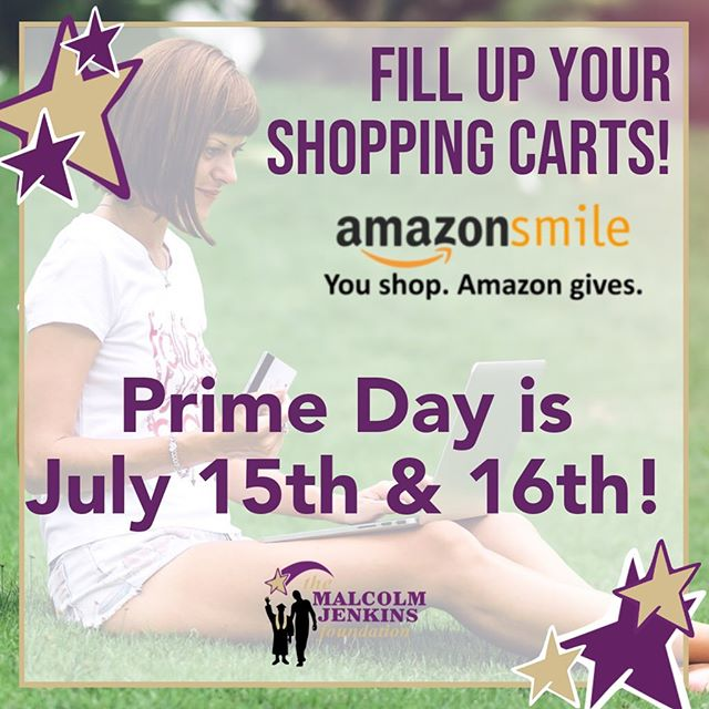 Get Ready to shop 'til you drop! @amazon Prime Days are right around the corner and #AmazonSmile is ready to donate to #TMJF for every item you purchase😮!! Click the link in our bio to select us as your charity of choice and proceed to fill up your 🛒! Checkout on Monday the 15th or Tuesday the 16th and you'll be helping us to deliver programs and services to underserved youth! #AmazimeSmile #AmazomePrimeDay #TheMalcolmJenkinsFoundation . . . . . . #ShopTilYouDrop #GiveBack #Charity #Impact #Youth #Underserved #MakeADifference #MakeAnImpact #Amazon