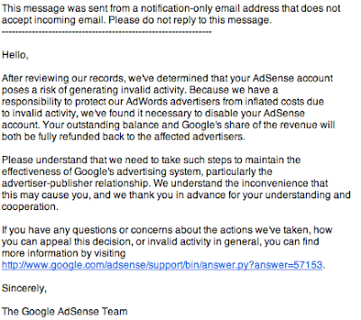Adsense account disabled