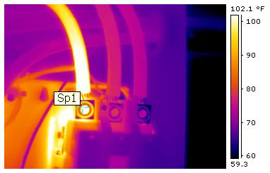 Infrared photo of an overheating wire, a fire hazard.