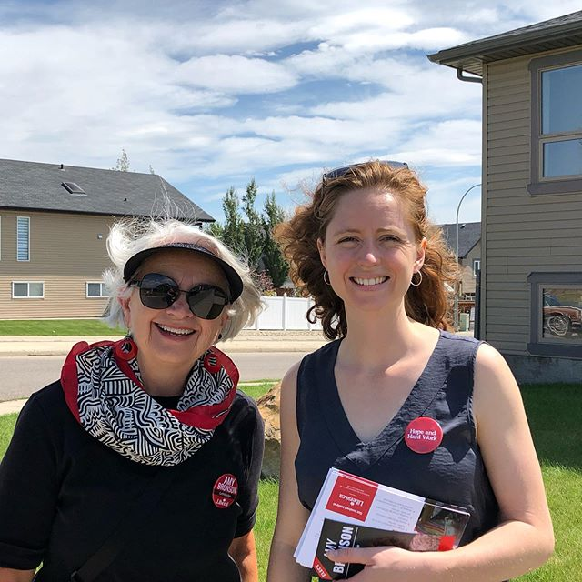 Sue, my grade 11 math teacher, came canvassing with me this morning. I had to work hard in her math class- it wasn't easy and not where I got my top marks. But thanks to Sue, I kept going and learned technical skills and perseverance. And now she's here, supporting me in another challenge. One reason I am running is I want to ensure kids keep getting the quality public education I got in #lethbridge with great teachers. Math matters! #abpoli #hopeandhardwork #goknockdoors