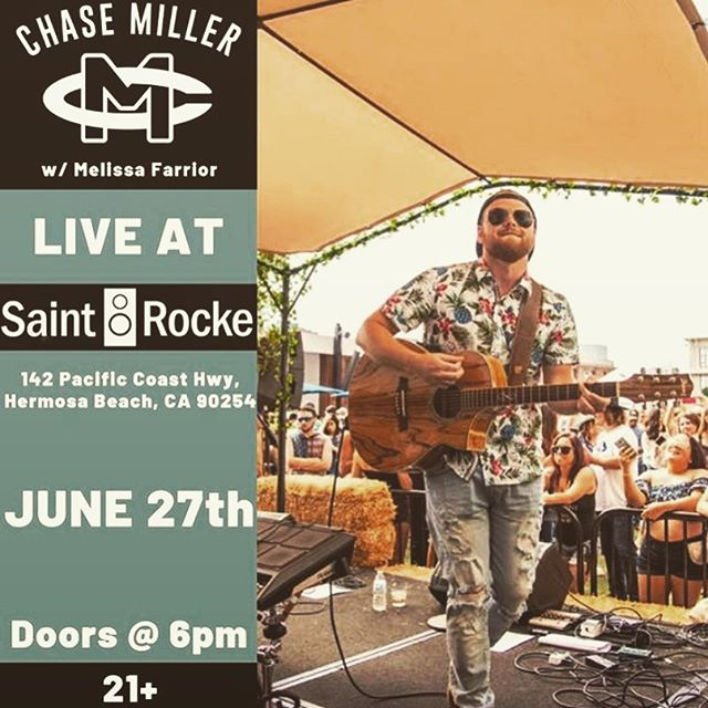 Looking forward to this one! Come enjoy some original music @saintrocke in Hermosa Beach this Thursday night. I'll be opening for @chasemillertime at 8pm. See you there! #livemusic #saintrocke • • • #countrymusic #originalartist #countrysoul #hermosabeach #fullband #chasemiller
