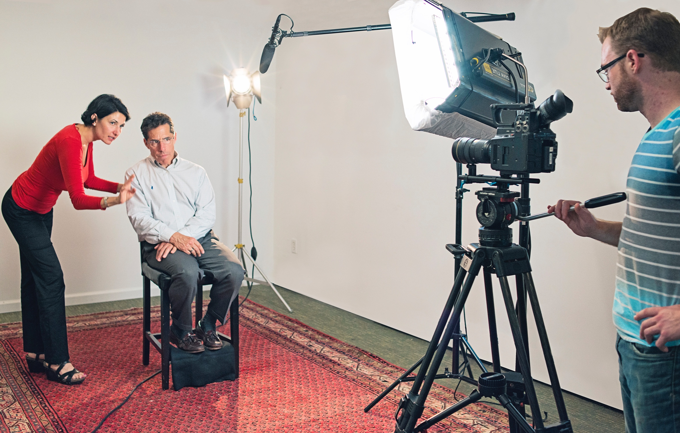 On-camera coaching with team member Jeff Hodges.