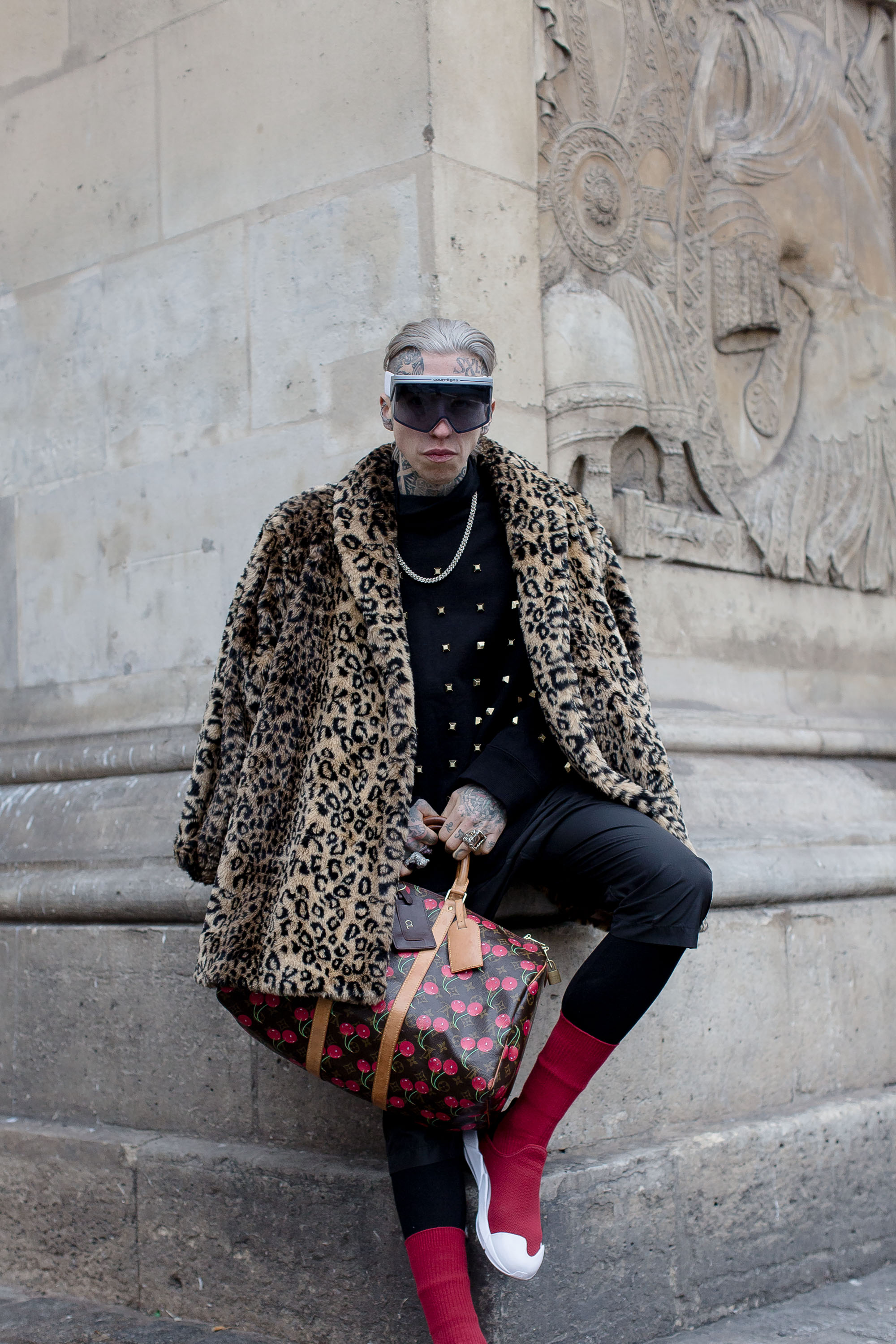 Chris Lavish  wearing his pair to shows during Paris Fashion week.