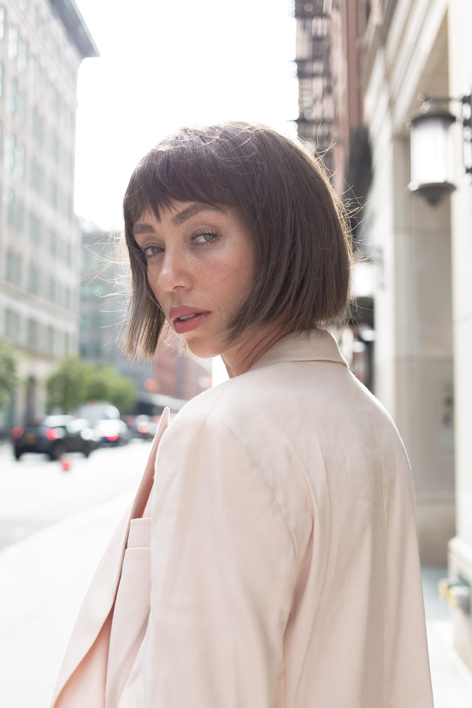 X Karla Double Breasted Linen-Blend Boyfriend Blazer