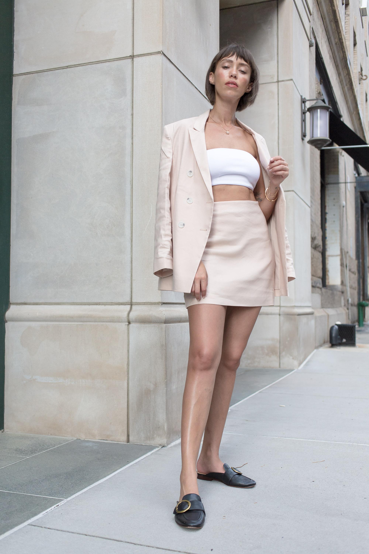 X Karla High Waisted Linen-Blend Mini Skirt