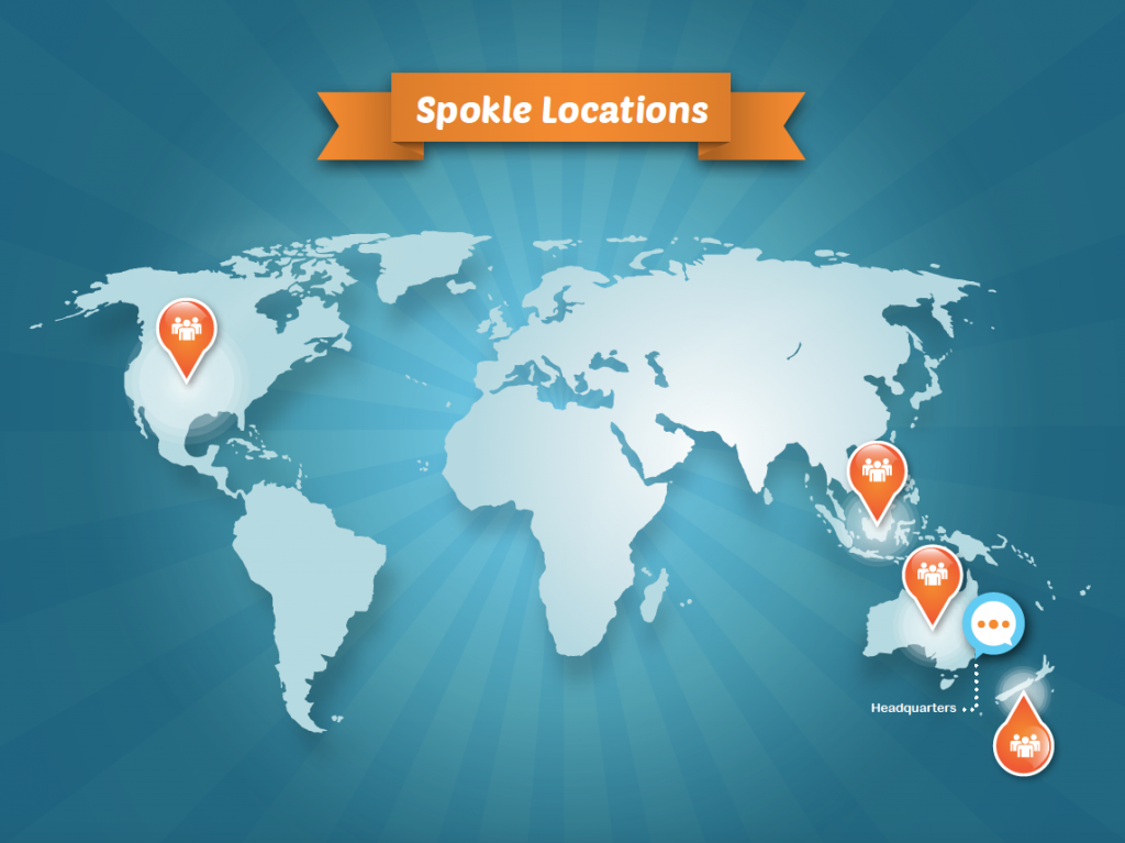 Map showing Spokle team locations in US, Indonesia, Australia and New Zealand