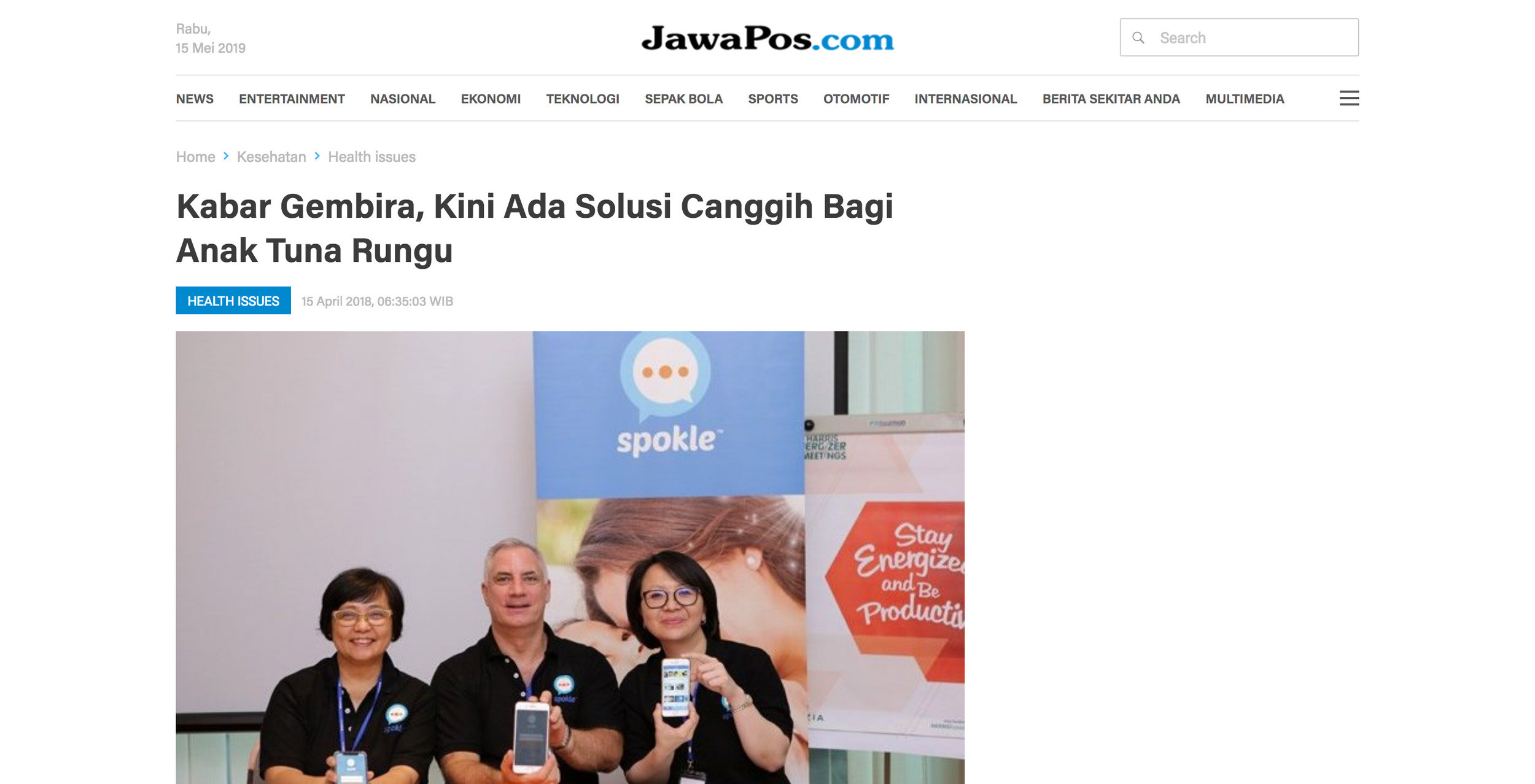 Jawa Pos article about Spokle App