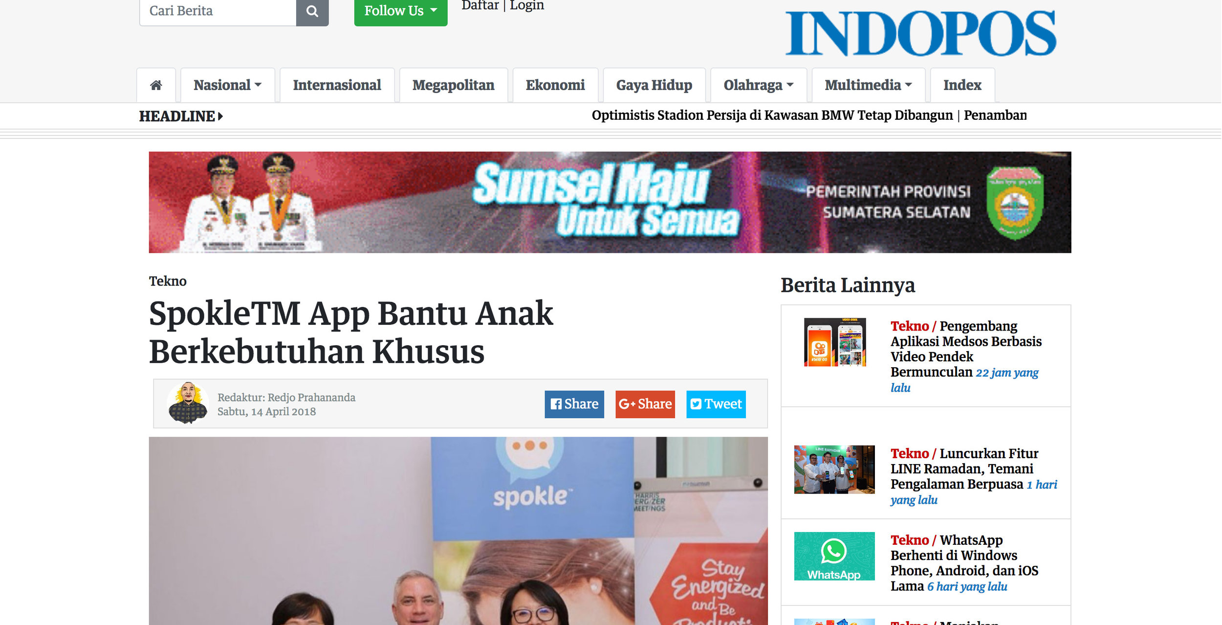 Indopos.co.id article about Spokle App