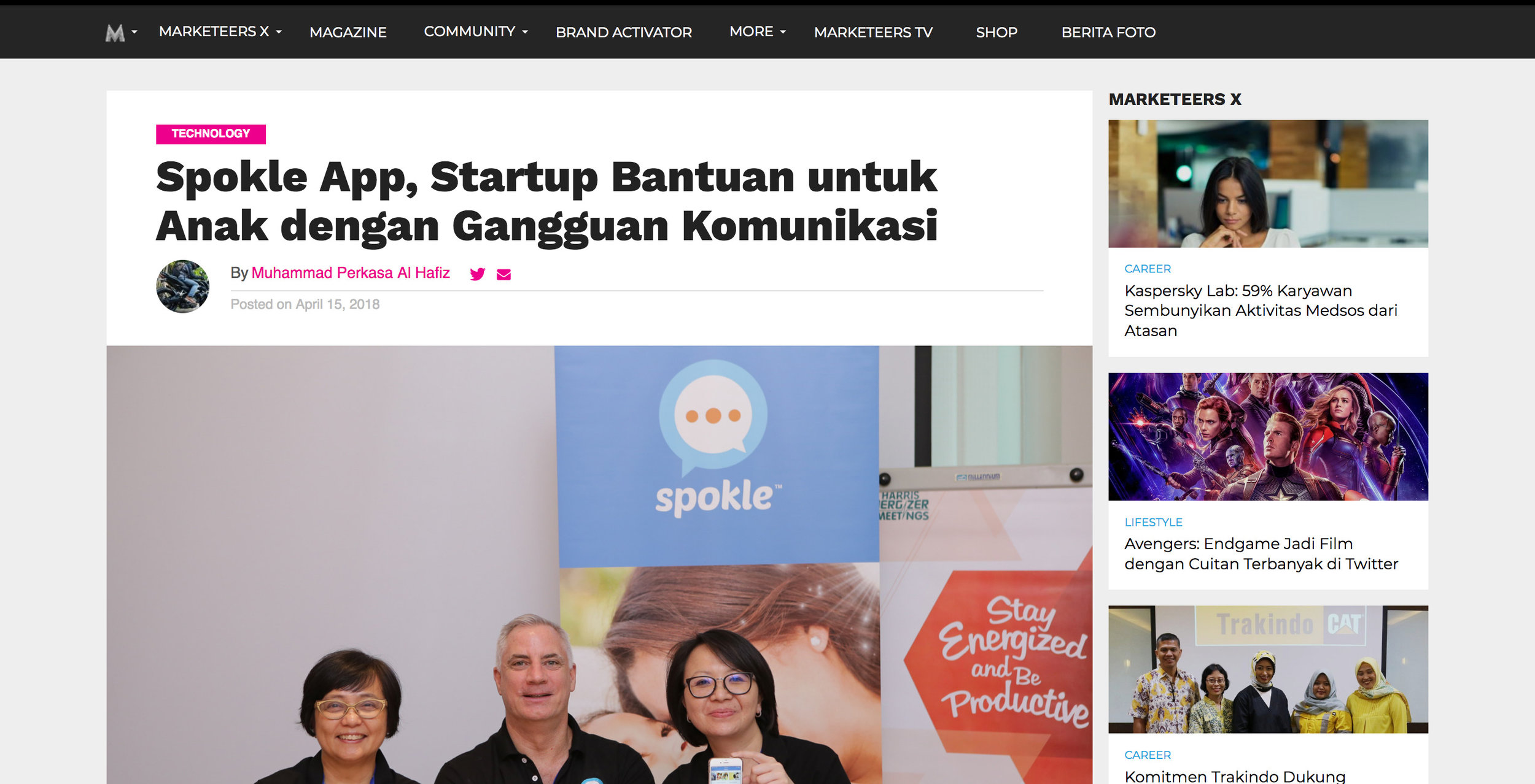 Marketeers article about Spokle App
