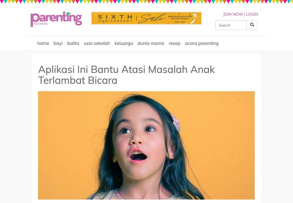 Parenting magazine article about Spokle App