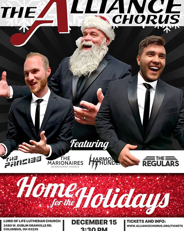 It's that time of year! Featuring: The Marionaires, a newly debuting quartet and the 1st and 2nd place Johnny Appleseed District quartets: @harmonicthunderqt and @theregularsqt  Tickets available at:  give.classy.org/Holidays2018 . . . #holidays #concert #music #acapella #santa #gifts #performance #snow #harmony #cheer #songs #asseenincolumbus #local #chorus #homefortheholidays #happy #family #celebrate #barbershop #smallbusinesssaturday