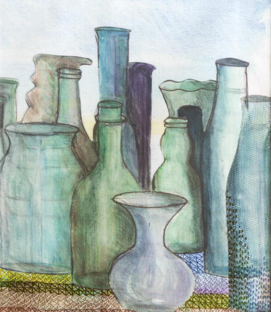 Barbara's Green Bottles - 50 x 43 cm £250