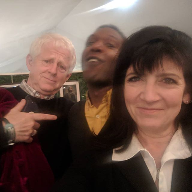 """Green Room. Cheltenham Festival.  Last night. After introducing myself he said these simple words """"Are you eating alone?"""" He sat down with me and we nattered. He's Richard Curtis with the ever effervescence that is Emma Freud, here to interview Helena Bonham Carter."""