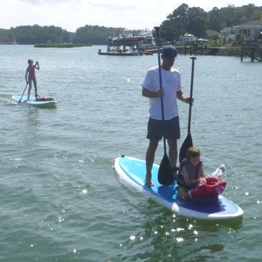 Sea Glass Paddleboards, Paddlefit Coach - Toby Daschbach with 8 year old Brady and 12 year old Cleo.
