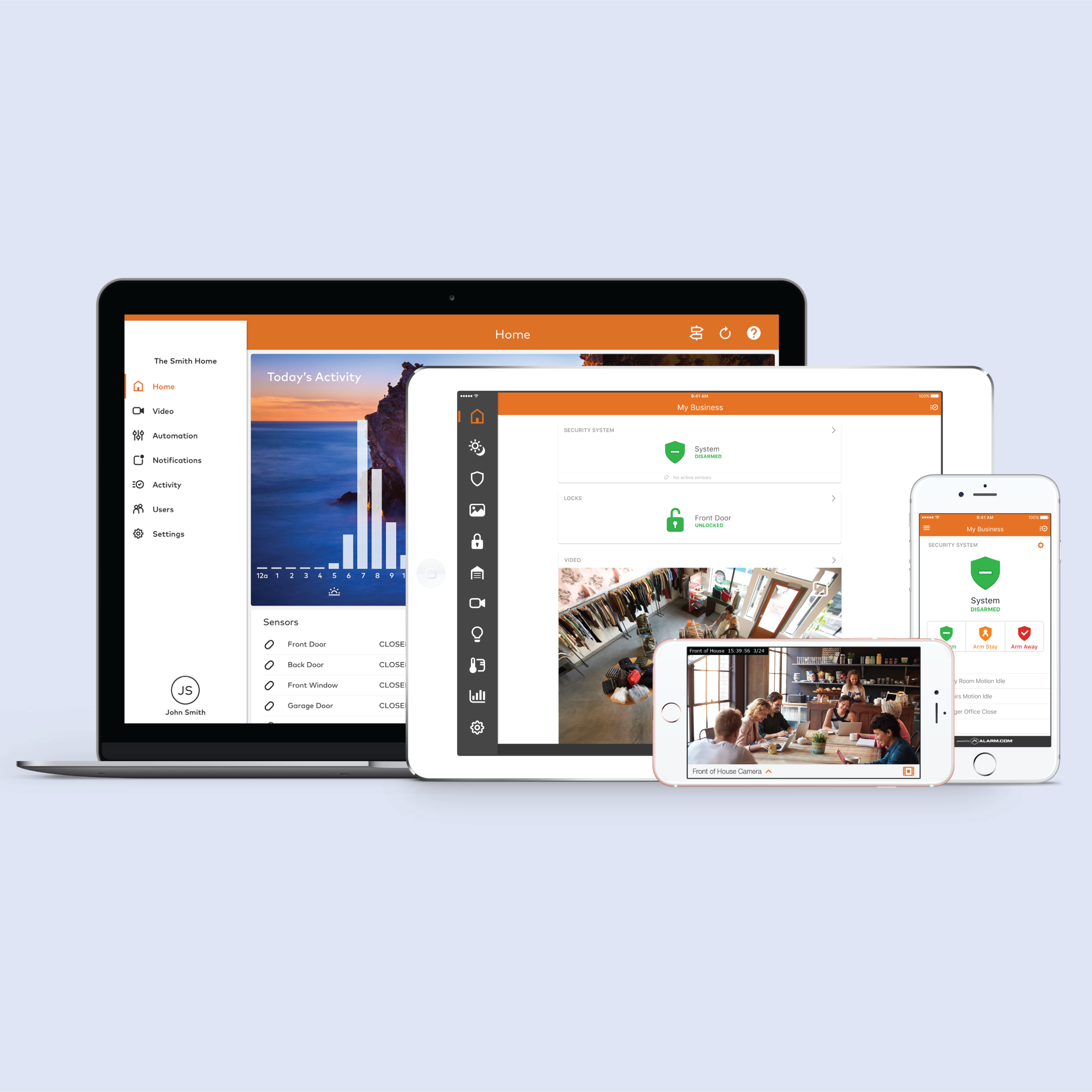 Smart Device Integration - Control every aspect of your system, from your access keypads to cameras on any wifi-connected device.