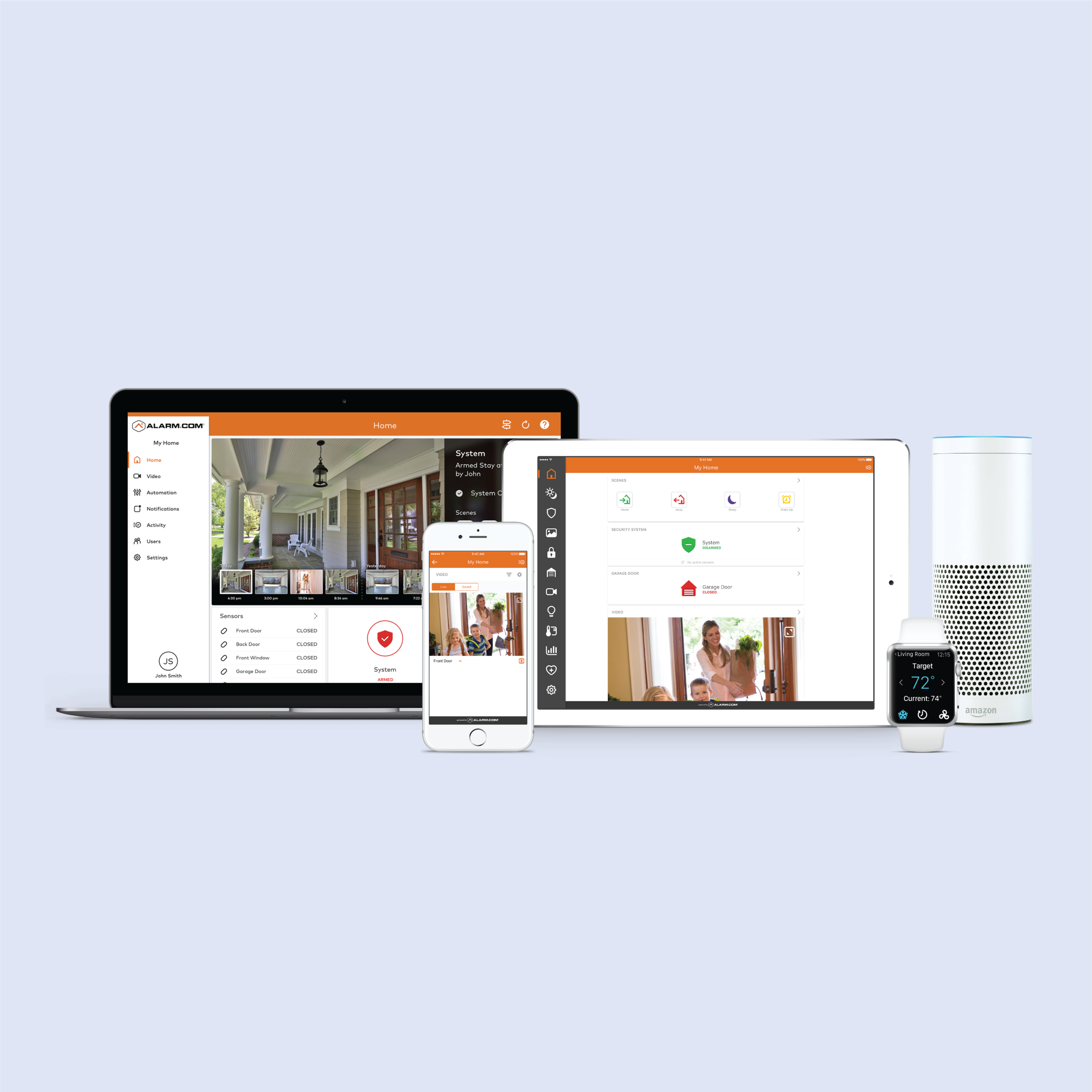 Manage everything from your smart devices. - Control your house's climate, your security system and even your lights – all from any smart device.