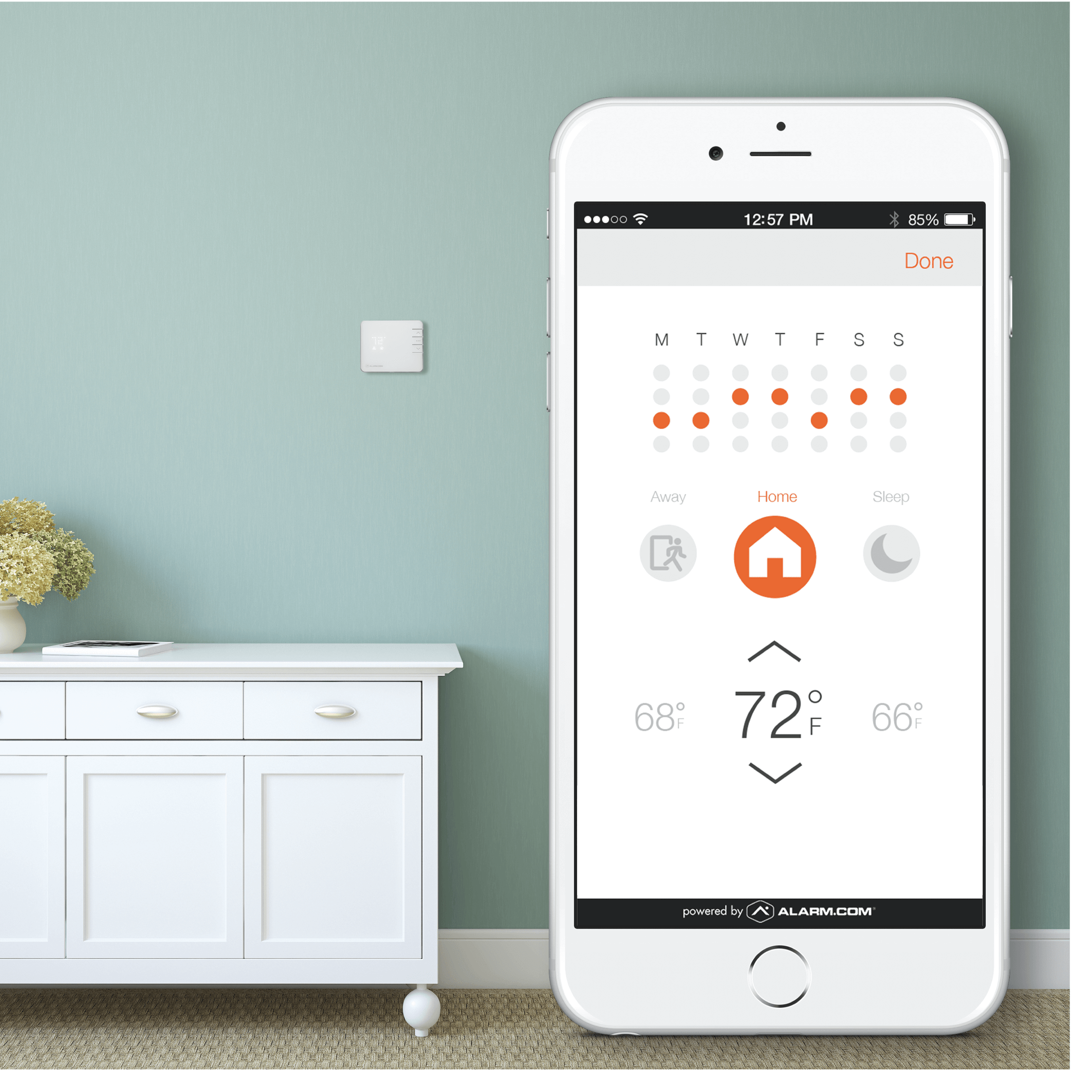 Save money with climate automation. - Program your home's climate to adjust for when you're not there, or set the window shades to react to the temperature outside. Plus, our system automatically compensates for unexpected activity – changing the temperature to keep costs down when doors or windows are left open accidentally.