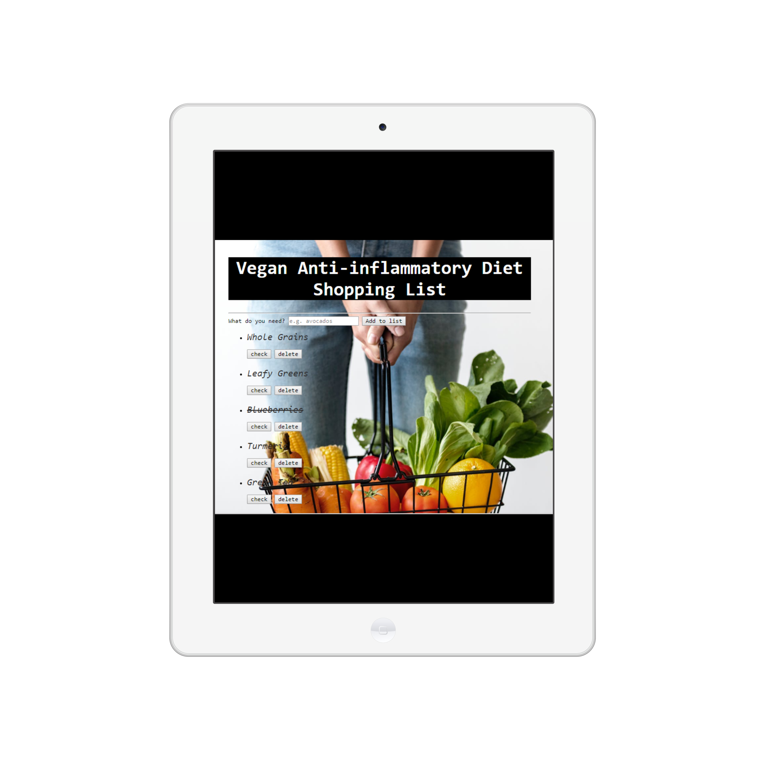 Shopping List App - Simple JavaScript app that I created for my wellness clients to help them shop for foods that fight inflammation.