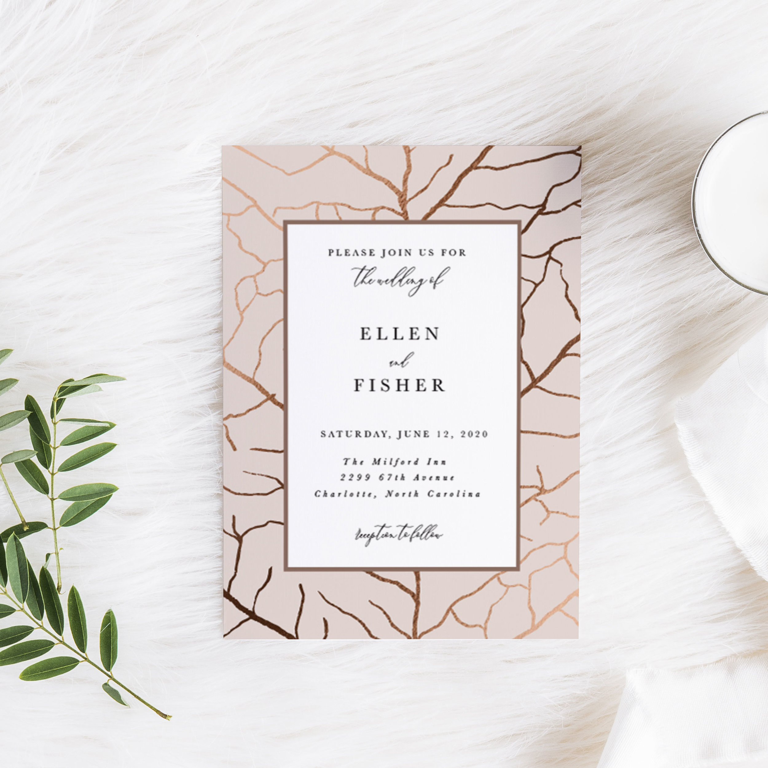 Pressed Leaf Wedding Invitation
