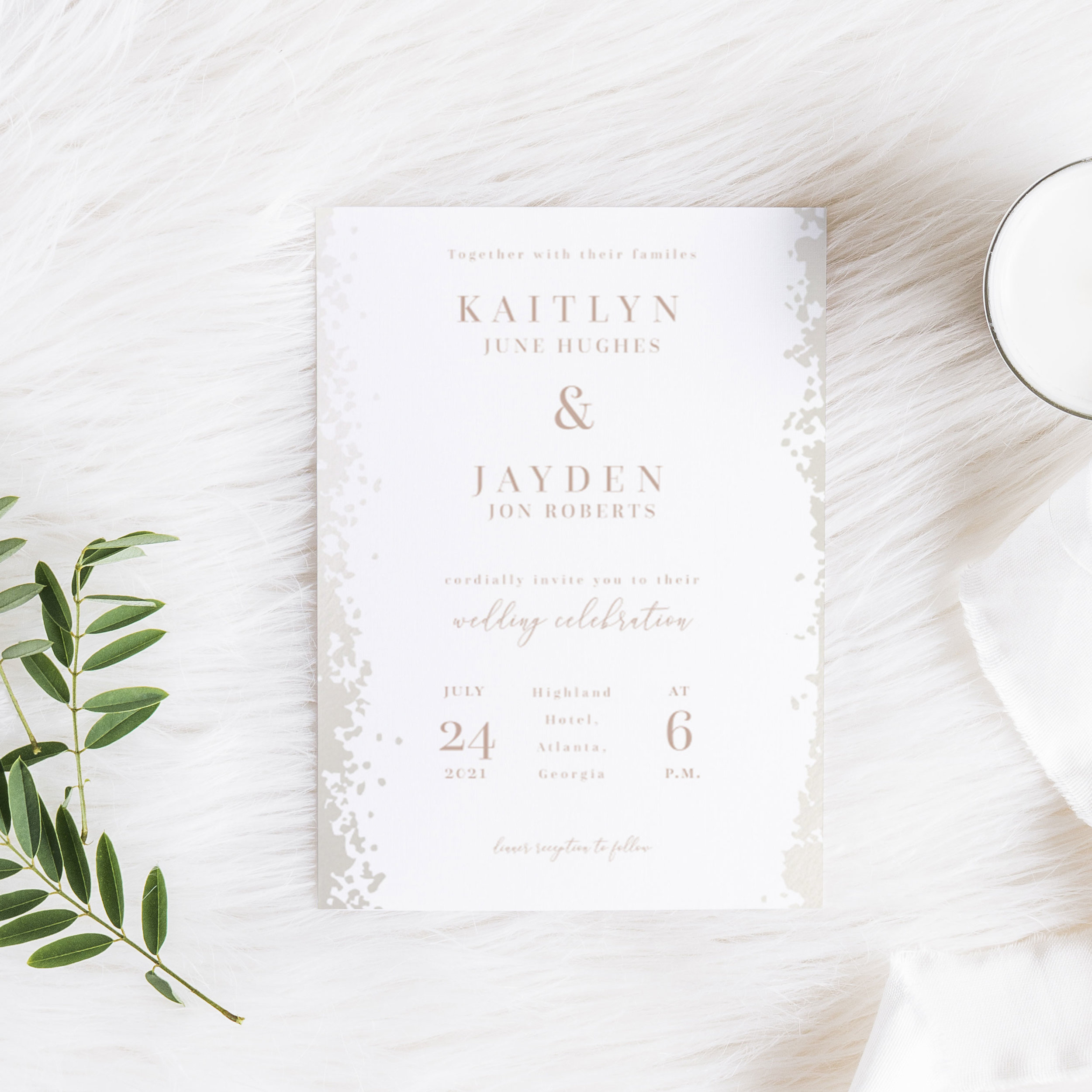 Pearl Dust Wedding Invitation