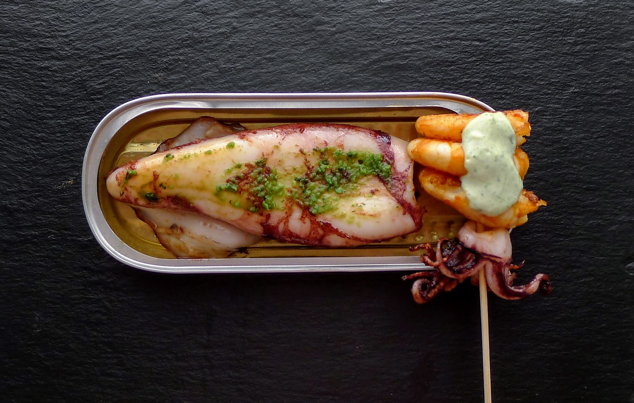 Grilled Squid and Prawns with green sauce.