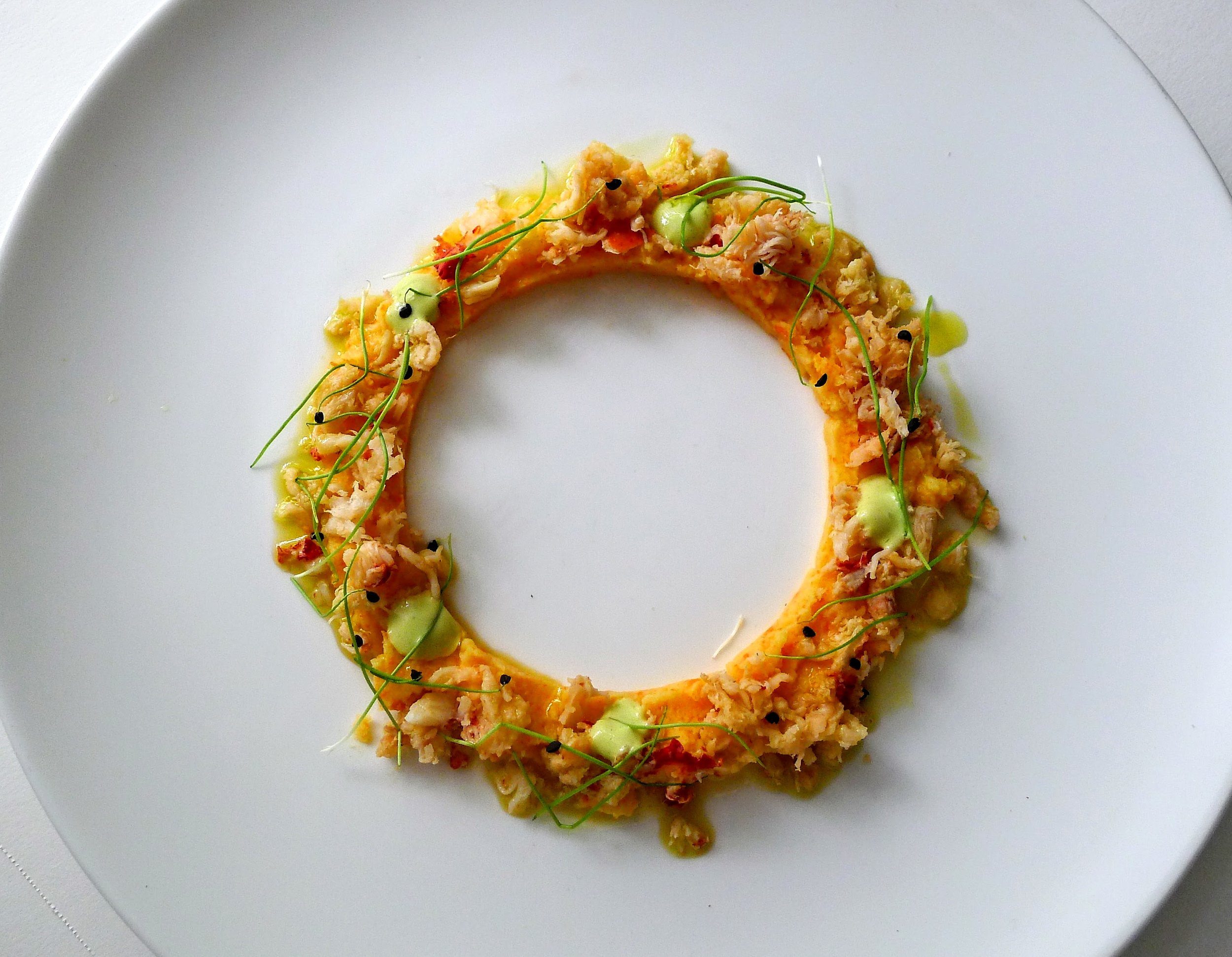 Crown of Pumpkin and Lobster, green Garlic Aioli, EVOO & micro Scallions.