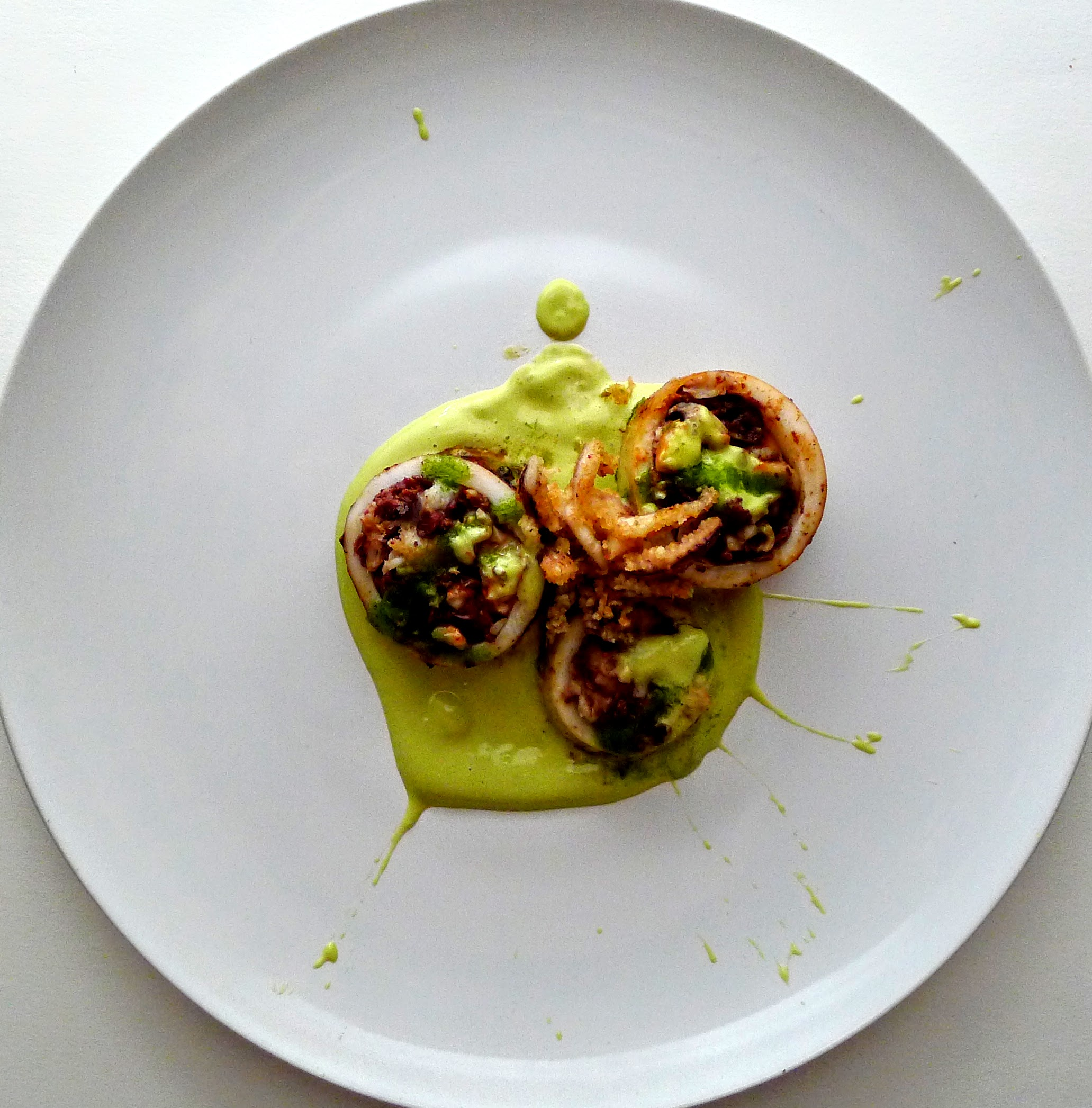 Sous Vide & grilled stuffed Calamari with blood Sausages and Prawns with green sauce Aioli