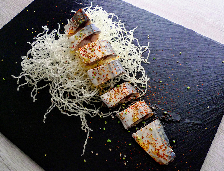 Mackerel in vinegar with olive oil, salt, habanero herb crystals and shichimi togarashi