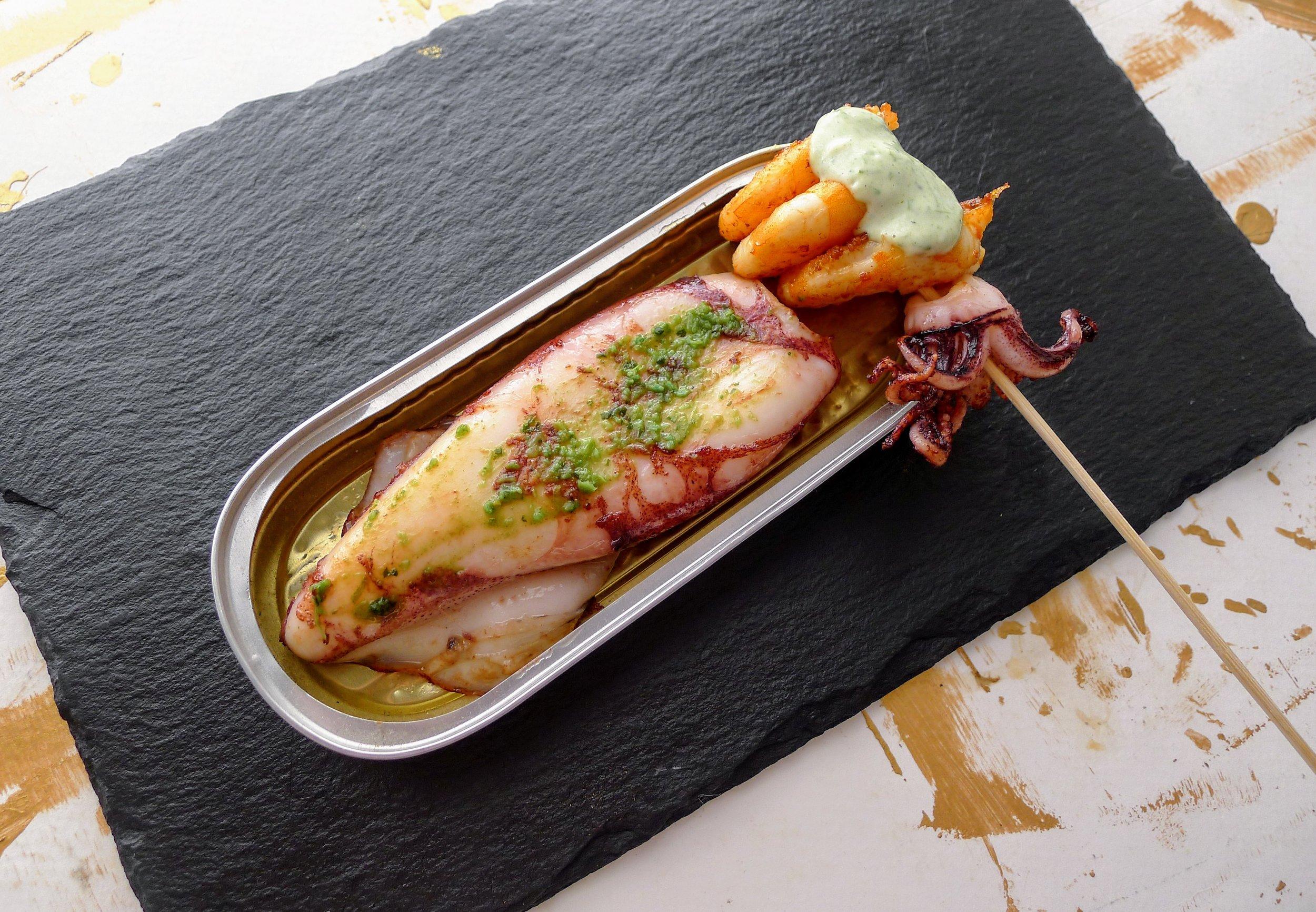 Grilled Squid, Prawns & Coriander sauce