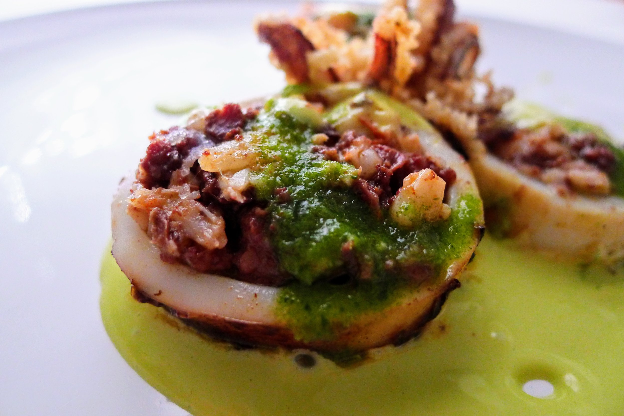 Grilled Stuffed Calamari with blood Sausages and Prawns & green Aioli