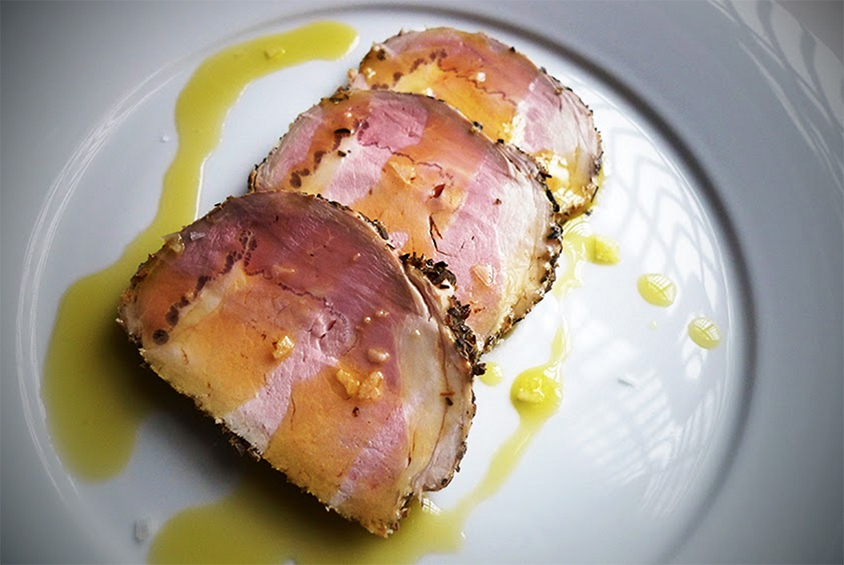 Pork Loin with Provence Herbs served with Orange Oil