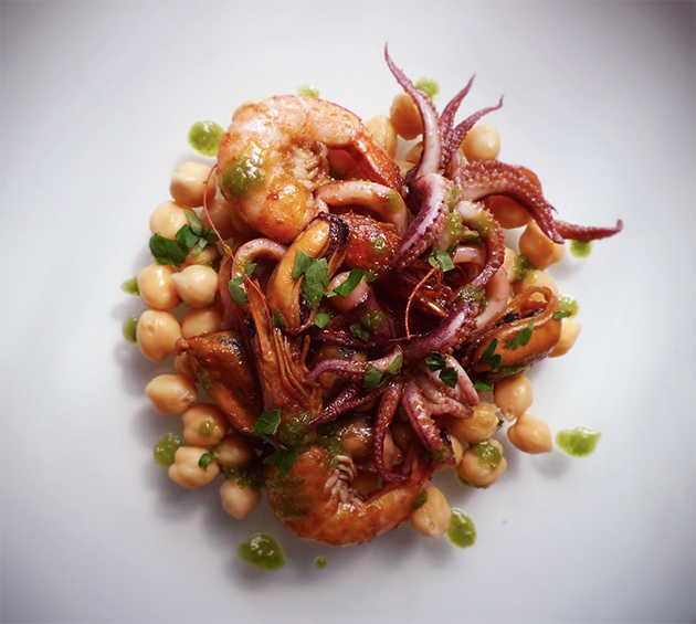 Calamari and Prawns grilled with Mussels, chickpeas and green sauce (Parsley, Garlic, and Oil Olive)