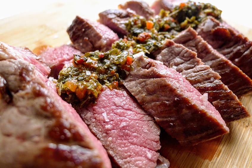 Sous Vide Lamb leg bone with Chimichurri sauce