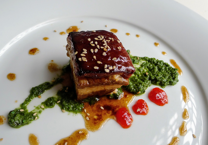 Sous Vide Pork Belly cooked with Soy sauce and Ginger (7 hours) served with Coriander Chutney and Tomato Jam