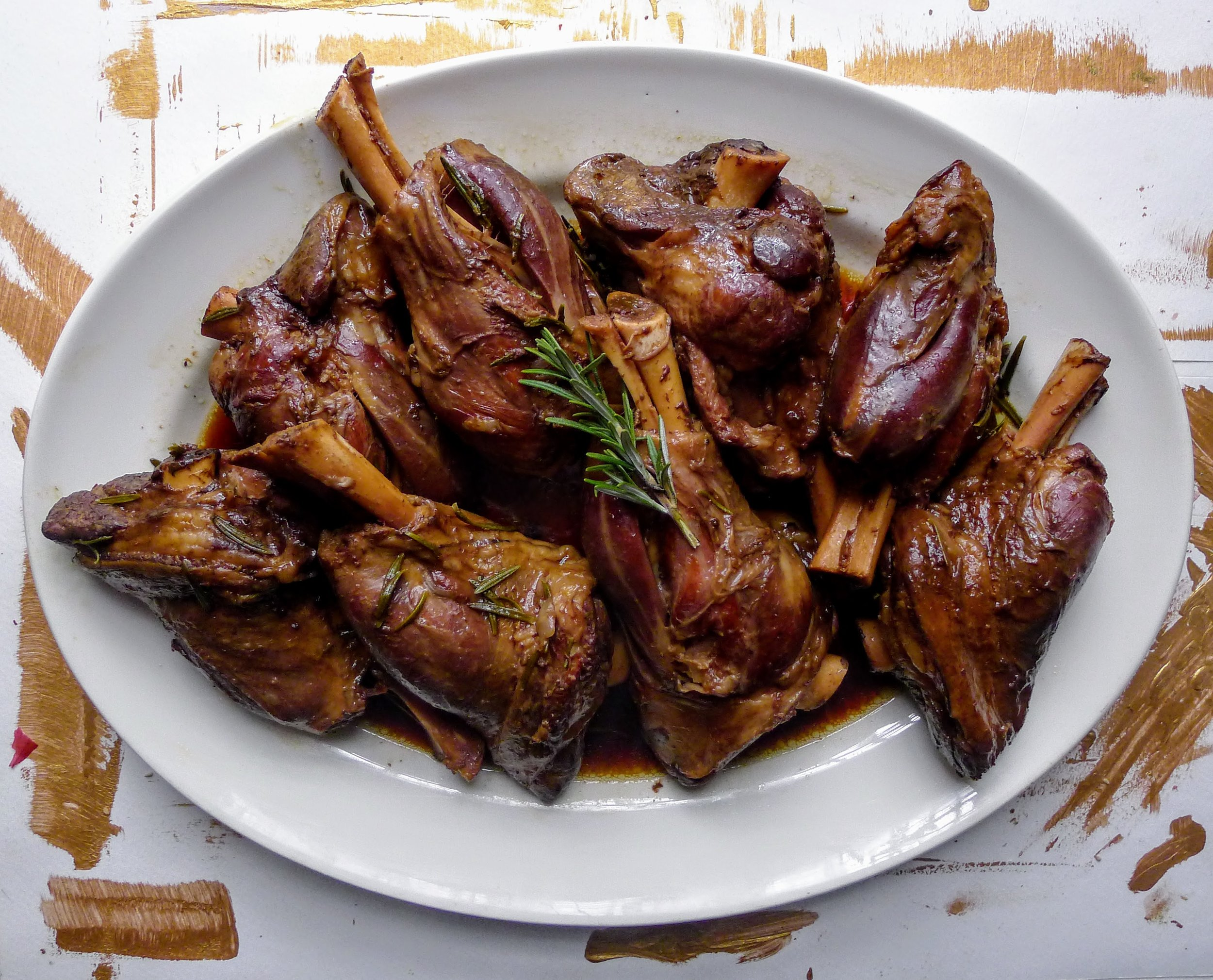 24-hour Sous Vide Lamb Shanks in Soy sauce, Extra Virgin Olive Oil and fresh Rosemary