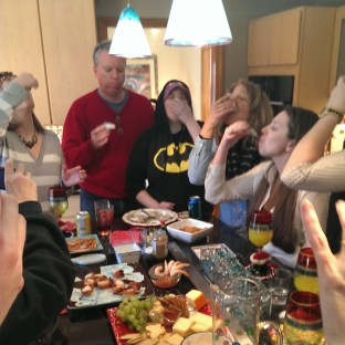 I'm the one in the Batman hoodie with the terrified look on my face.