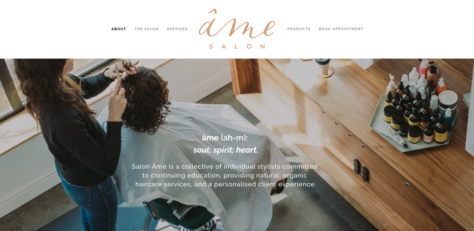 ÂME SALON website design - content curation - messaging - digital branding - SEO