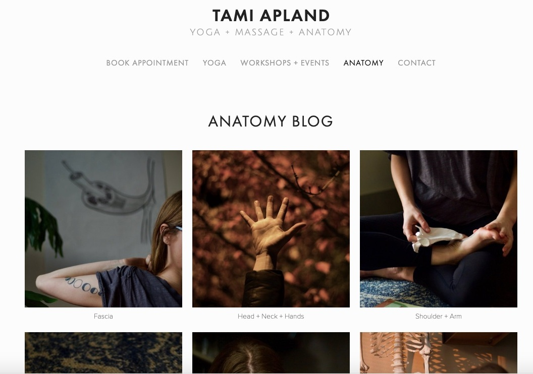 TAMI APLAND   YOGA+MASSAGE+ANATOMY website strategy & tune-up - content curation - digital branding - SEO