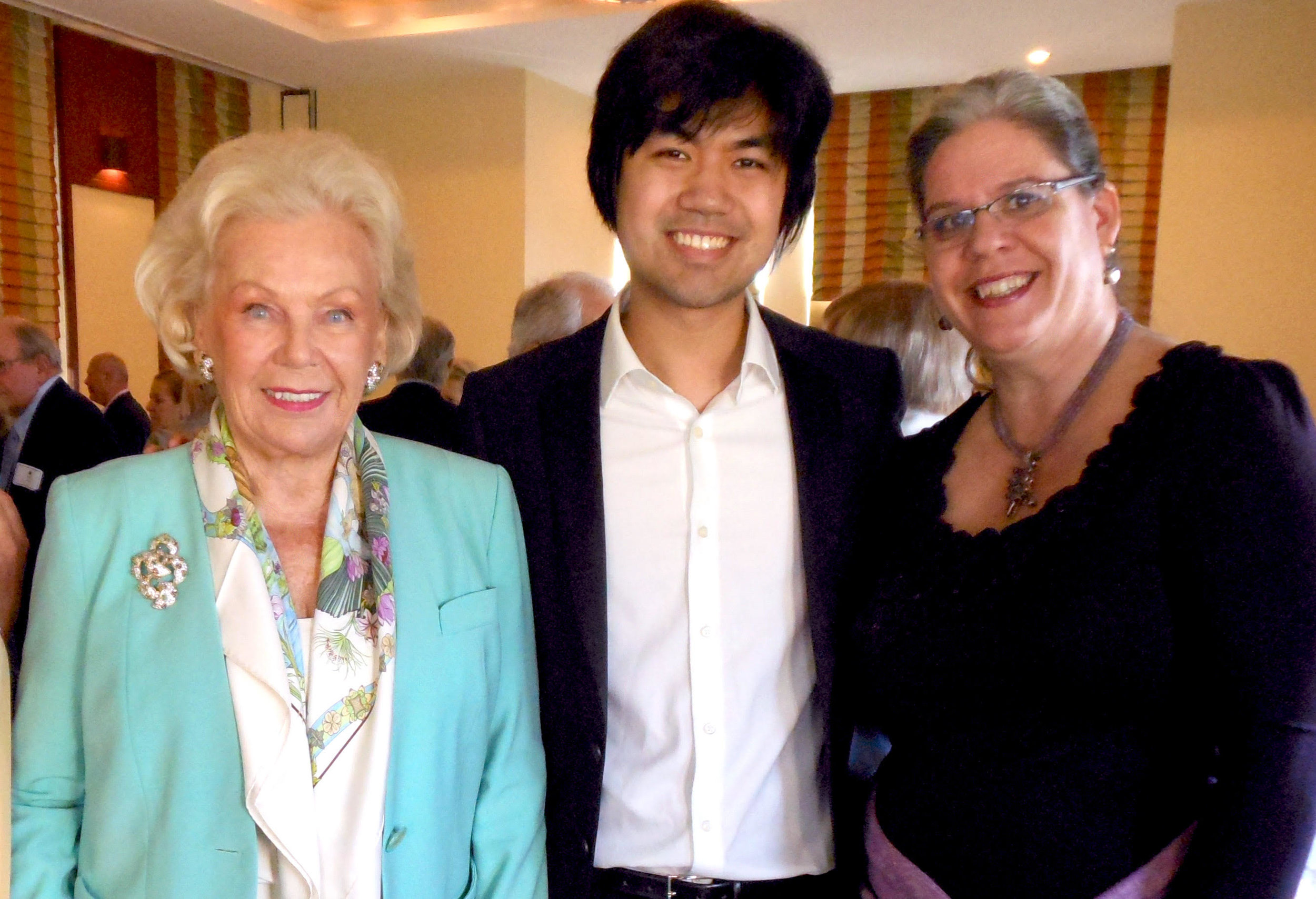 Chopin Salon Concert, March 2014: Lady Blanka Rosenstiel, left, and Barbara E. Muze, right, with pianist Sean Chen, a four-year recipient of the Chopin Foundation's Scholarship (2003-2006). In 2013, Sean won the American Pianists Association Awards and a Bronze medal at the Van Cliburn International Competition.