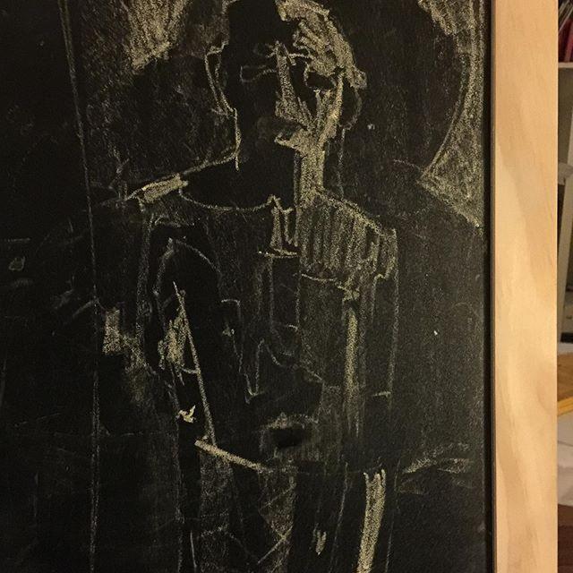 David Park 3 value study on the kids blackboard. Getting my fix anyway possible #bayareafigurative #artistmum #practicemakesprogress