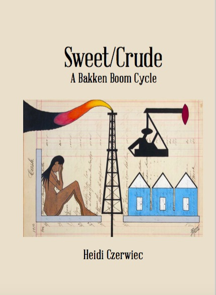 Sweet/Crude cover: drawing of oil well, drill, man camp, and crying woman done on land deed. Link to publisher.