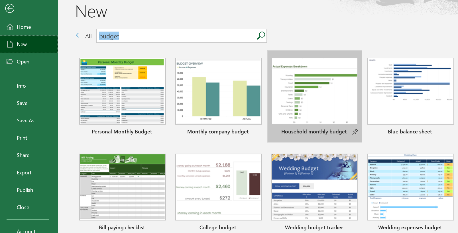 Screenshot of the Excel budget templates available.