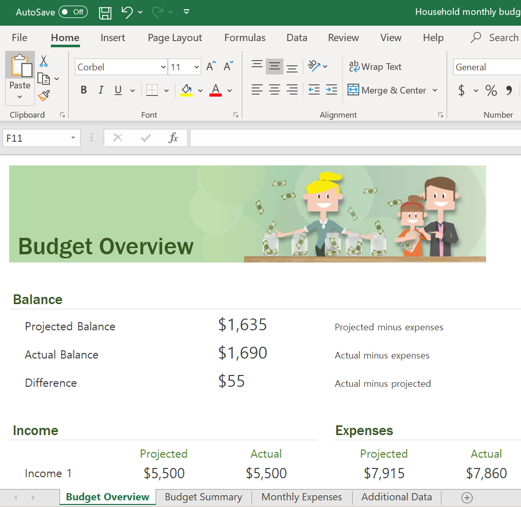 Screenshot of the Excel Budget Overview Sheet in the Household Monthly Budget Template.