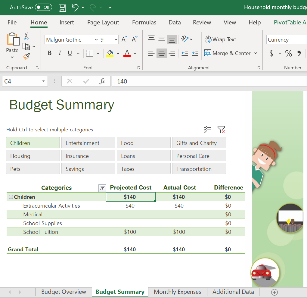 Screenshot of the Budget Summary in the Excel Budget Template.