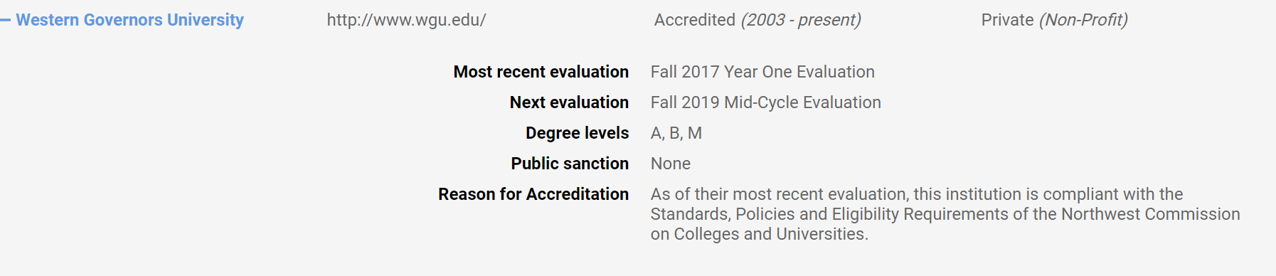 Image of the Northwest Commission on Colleges and Universities (NWCCU) WGU Accreditation.